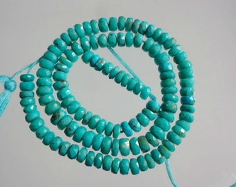 14-inch AAAA quality Arizona Sleeping Beauty Turquoise faceted beads size 5-5.5mm 78cts GW2133