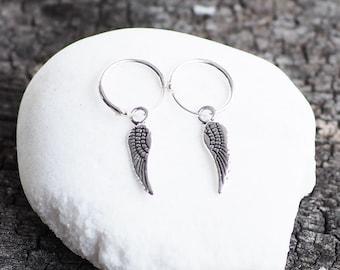 12 mm - Wing Hoop earrings, Wing Earrings, Feather earrings, Gift for her /HP19