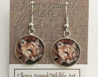 Puma, Mountain lion, Cougar earrings, jewelry, florida panther, Wildcat accessory, collectable, big cat jewelry,