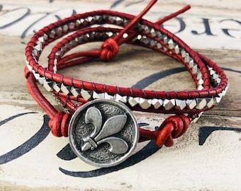 Silver Red Wrap Leather Bracelet, Women Boho Beaded Bracelet, Birthday Gift for Mom, Gift for Her
