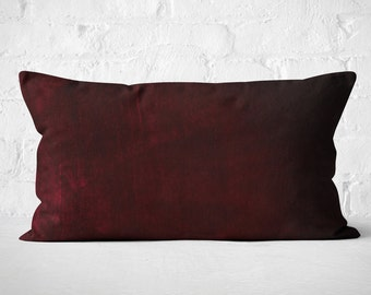 Burgundy Velvet Lumbar Pillow | Housewarming gift idea for couple | Burgundy Velvet Lumbar Cushion