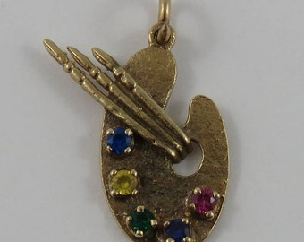 Painter's Palette with Stones & Brushes 10K Gold Vintage Charm For Bracelet