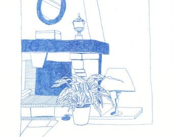 Yens - riso print (blue)
