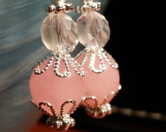 Pink Silver Plated Wire Sparkle Dangle Drop Earrings