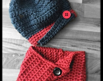 Slouchy Beret w/Matching Cowl Crocheted Charcoal, Red Photo Prop Hat Scarf Shawl