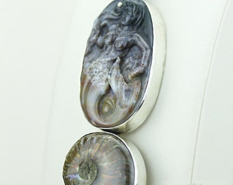 NEPHRITE Jade MERMAID AMMONITE Fossil 925 S0LID Sterling Silver Pendant + 4mm Snake Chain & Free Worldwide Shipping mp172