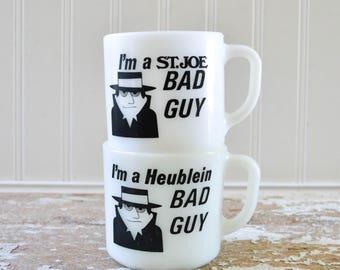 Vintage Bad Guy Coffee Mug - Pair of I had a Bad Idea Cups White Milk Glass Anchor Hocking
