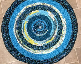 "Cotton ""Braided"" Rug- Turquoise and Chartreuse"
