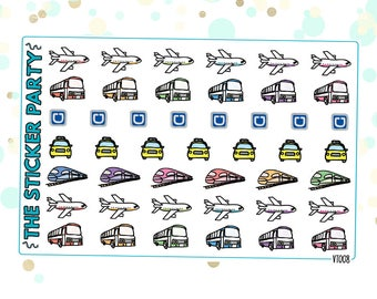 Assorted Transportation Planner Stickers