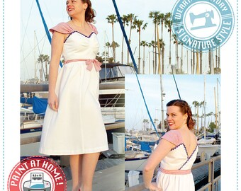 E-PATTERN- 1940s Wrap Dress Pattern- PDF Pattern Wearing History