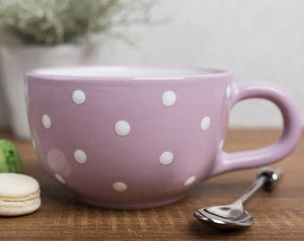 City to Cottage Violet And White Polka Dot Spotty Handmade Hand Painted Ceramic Extra Large 17.5oz/500ml Cappuccino Coffee Tea Soup Mug Cup