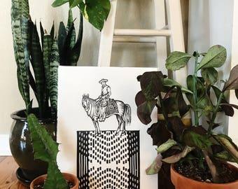 Hand Printed Cowboy Linocut