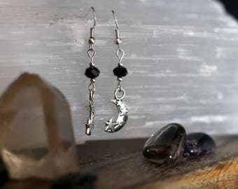 Crescent moon earrings Black faceted beads