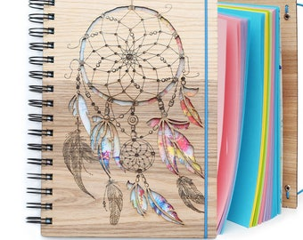 "Wooden notebook, scetchbook ""Rainbow Dream Catcher"""