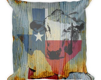 Texas Cattle Ranch House Square Pillow,Texas throw pillow,Texas decor pillow,God Bless Texas pillow,Texas throw pillow,Cattle decor pillow