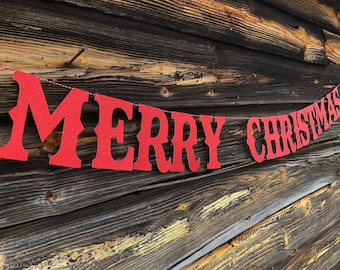 Merry Christmas banner, sturdy wall banner, glitter garland, glitter decor, mantle banner, color options available
