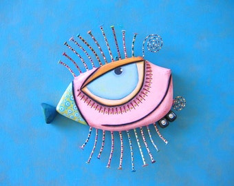 Pink Walleye, MADE to ORDER, Original Found Object Wall Sculpture, Wood Carving, Fish Art, Wall Decor, by Fig Jam Studio