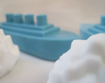 FREE SHIPPING - 2 Titanic and Iceberg Glycerin Soaps