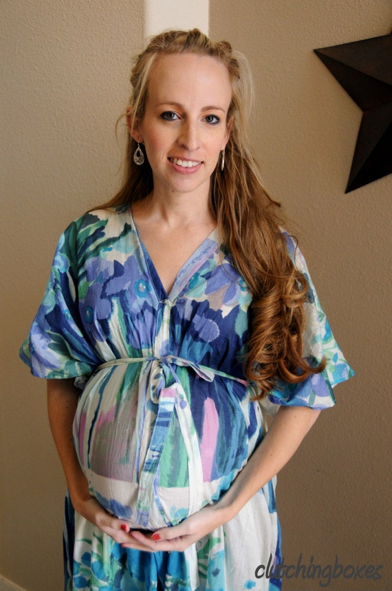 Watercolor Full Front Buttoned Nursing Kaftan Maternity Gown