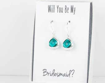 Tiny Teal Silver Earrings, December Birthstone Earrings, Teal Blue Silver Earrings, Bridesmaid Earrings, Teal Wedding Jewelry