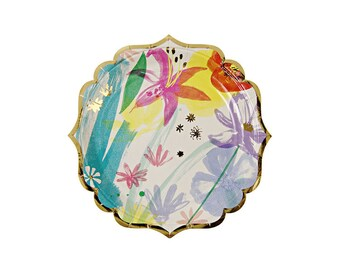 Toot Sweet Painted Flowers Paper Plates, Small, Meri Meri, Party Supplies, Tableware, Easter, Spring, Mother's Day, Party Theme