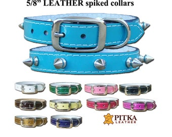 Designer Pet Collar - Spiked Leather Dog Collar - Small Dog Collars and Leashes - Collars for Small Dogs  - Colorful Dog Collars made in USA