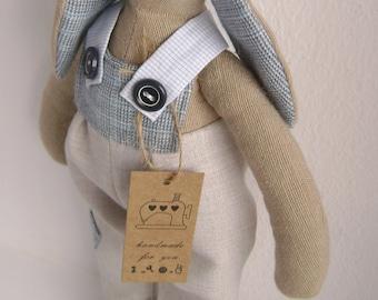 Rabbit style Tilda, rabbit farmer, tilda doll, tilda rabbit, tilda bunny, rag doll, doll, gift, interior, grey-blue,rabbit doll