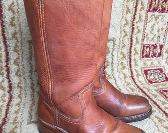 Frye #77050 Campus 14L Saddle Stacked Riding Leather Women's Square Boots Sz 7 M