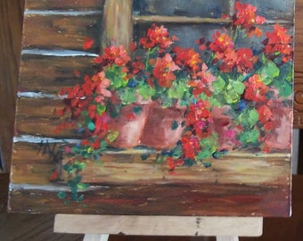 "Log Home with Pots of Summer Red Geraniums, 4"" X 5"", original oil painting"