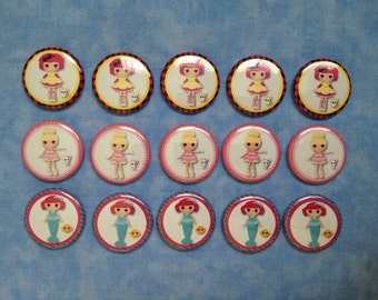 """SALE! Lalaloopsy Doll Buttons, 1"""" Flatback Buttons, 15 Buttons Total"""