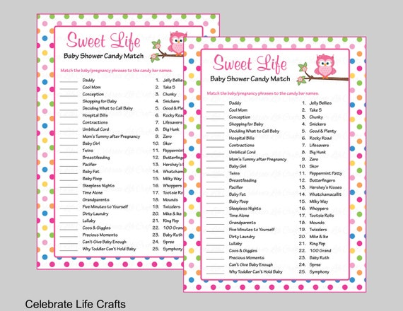 Captivating Baby Shower Sweet Life Candy Bar Match Game   Printable Baby Shower Games    Rainbow Polka Owl Baby Girl B2009