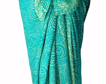 Beach Sarong Wrap Womens Clothing Batik Sarong Wrap Skirt Swimsuit Coverup Aqua & Cream Starry Nite Lavalava Beachwear - Green Batik Pareo
