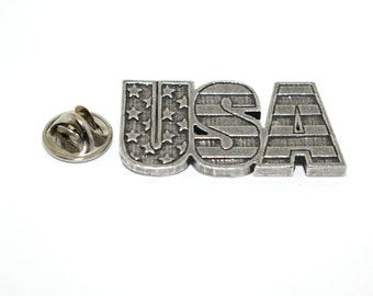 USA Letters With Flag Background  ~ Lapel Pin/Brooch ~ A1000,AC1000
