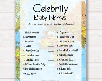 Celebrity Baby Names Baby Shower Games, Baby Avdenture Theme Baby Shower Games, Celebrity Babies, Fun Baby Shower Games, Baby Shower Games