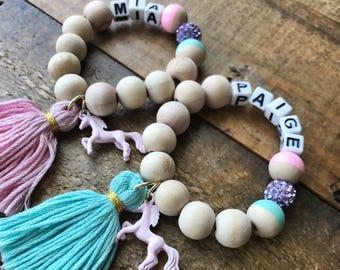 Personalized name bracelets, unicorn name bracelet, kids name bracelet , gift for girls