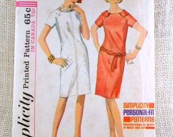 Simplicity 5995 vintage sewing Pattern zip dress Raglan sleeve Shift Mod dress 1960s beatnik Sack Shift Bust 32