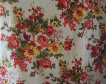 2 stunning hand-blocked lengths of French vintage line/cotton chintz