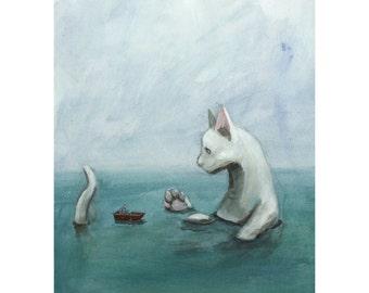 Aquacat Cat Illustration, Giclee Print of Original Acrylic Painting by Benjamin Mills