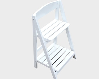 1 x Wooden White Ladder Shelf - Fully Collapsible