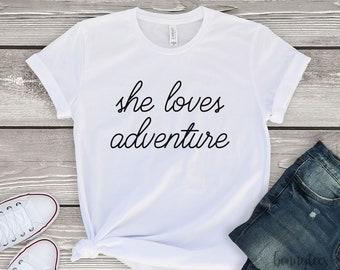 She loves adventure, wanderlust, hiking, mountains, camping, travelers, gift for girl, girlfriend gift, gift for her, gift for girlfriend