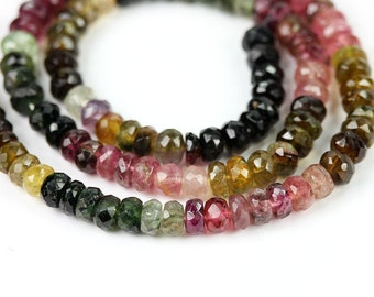 Tourmaline Mico Faceted Rondelles 10 Pieces 6MM Pink Green Yellow Brown Petro Semi Precious Gemstone