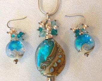 Mermaid Pendant and Earring set