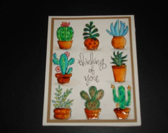 Thinking of You Handmade Water Colored Cactus Card