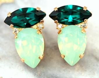 Mint Earrings,Mint Stud Earrings,Mint Bridal Earrings,Mint Swarovski Earrings,Bridesmaids Earrings,Bridesmaids Earrings,Emerald Earrings