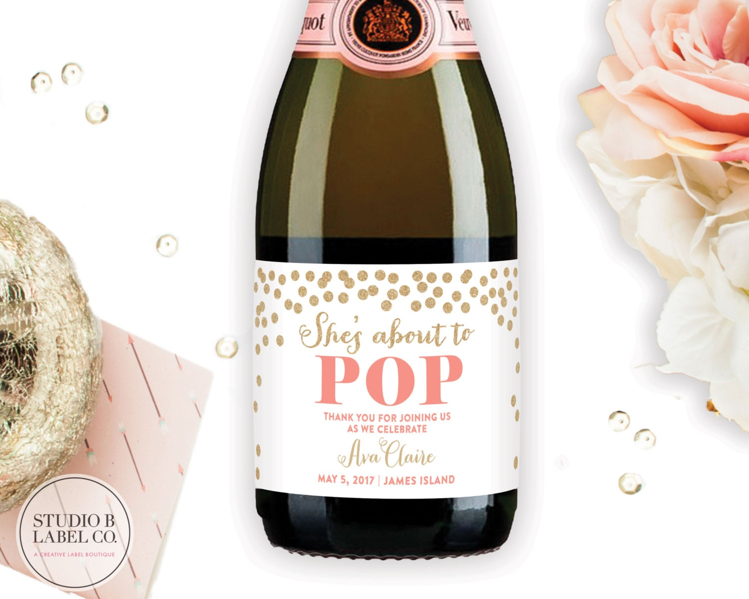 About to pop mini champagne labels baby shower favors zoom pronofoot35fo Gallery