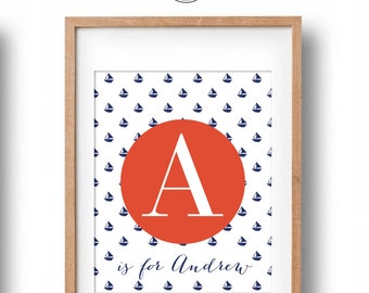 Nautical Name Print, Personalised Name Print, Custom Letter Name Print, Printable Nautical Art, Nautical Nursery Wall Decor, Printable Art