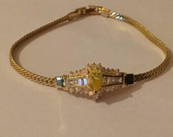Vintage Imitation Diamond Fancy Glass Paste Bracelet