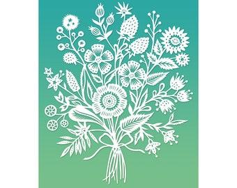 Floral Bouquet - 8x10 Print of Original Papercut Illustration  - Fine Art Print