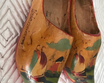 Vintage Dutch Clogs Hand Carved Hand Painted Wooden Shoes Made in Holland Windmill Flowers Sailboat Free Shipping