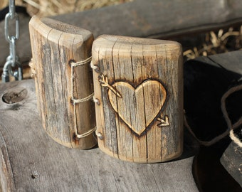 Rustic wood ring box bearer pillow with heart for rustic wedding proposal engagement